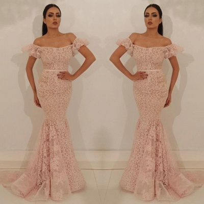 Glamorous Bubble-Sleeves Mermaid Lace Appliques Evening Dress | Off-The-Shoulder 2020 Prom Gown On Sale_2