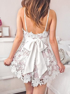 Lovely V-Neck Lace Homecoming Dresses | 2020 Mini Party Dress Online_2