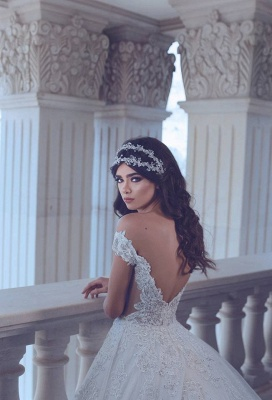 Chic Lace Off-the-Shoulder Wedding Dress 2020 Backless Long Beadings Bridal Gowns With Train_4