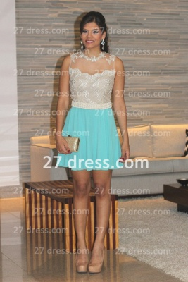 Pearl Short Lace Prom Dresses 2020 New Arrival Lindo Vestido Party Gowns See Through Sleeveless Green_1