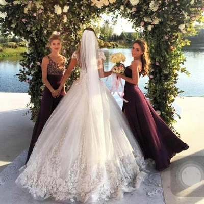 Glamorous Cal Sleeve Wedding Dress 2020 3D Floral Appliques Princess Bridal Gowns Tulle_4