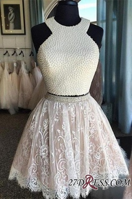 Luxury Short Pearls Two-Piece Lace Homecoming Dresses_1