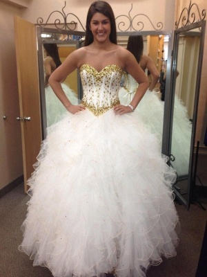 Fabulous Sweetheart Golden Crystal Wedding Dress Tulle 2020 Princess Bridal Gowns_1