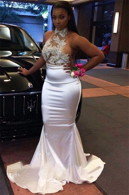 Gorgeous White Halter Mermaid Prom Dress | 2020 Long Evening Gowns On Sale BK0_2