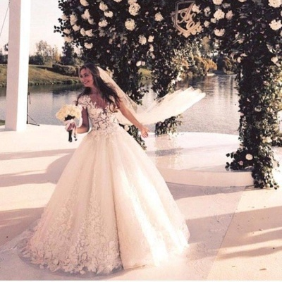 Glamorous Cal Sleeve Wedding Dress 2020 3D Floral Appliques Princess Bridal Gowns Tulle_6