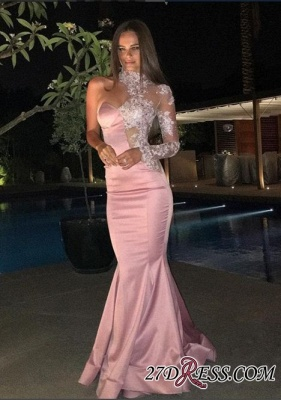 Gorgeous Mermaid Lace One-Shoulder High-Neck Evening Dress_2