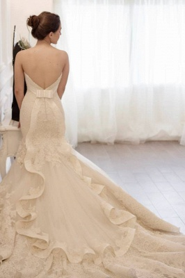 Stunning Sweetheart Lace Appliques Mermaid Wedding Dress Zipper Back With Train_3