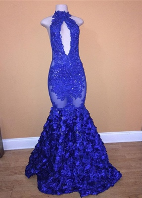 Elegant Royal Blue Lace Appliques Prom Dress   2020 Mermaid Long Evening Gowns With Flowers Bottom_1
