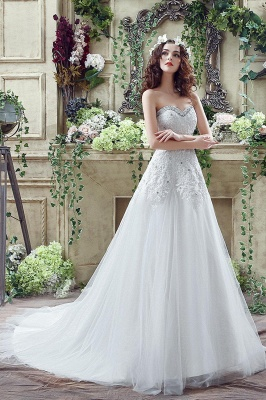 Glamorous Sequined Lace Tulle 2020 Wedding Dress Court Train Lace-up_7