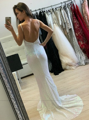 Sexy Sleeveless Spaghetti Strap Evening Gowns | Long Mermaid Backless Sequins Prom Dress_3