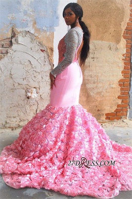 Pink Long-Sleeves Backless Mermaid Prom Dress | Glamorous Flower Appliques Evening Gown_3