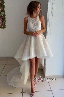 Beautiful Sleeveless A-line Lace Hi-lo Jewel Prom Dresses_3