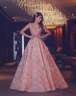 Flowers Luxury Lace Beading V-Neck Puffy Pink Evening Gowns_1