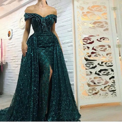 Gorgeous Green Bling Off-the-shoulder Evening Dress | Front Split Party Dress BC0427_2