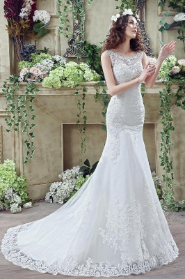 Timeless Mermaid Lace 2020 Wedding Dress Zipper Button Back Sweep Train_7