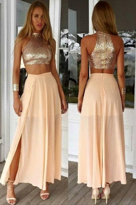 Newest Sequined Two Piece Prom Dress 2020 Front Split Floor-length BA3375_2