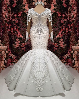 Gorgeous Crystals Lace Mermaid Wedding Dress   2020 Long Sleeve Bridal Gown BC0252_1
