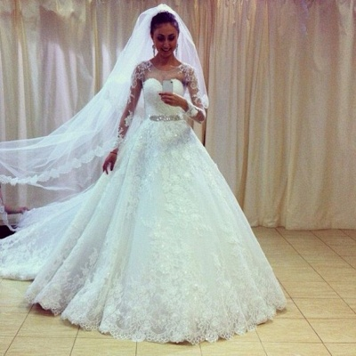 Gorgeous Lace Princess Wedding Dresses 2020 Appliques With Sleeve_3