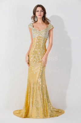 Glamorous Mermaid Sequins Crystals Evening Dress Sweep Train_1