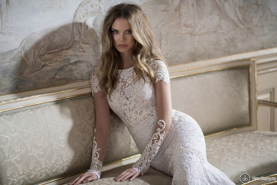 Modern Bateau Cap Sleeve Mermaid Wedding Dress Open Back With Lace Beadings_4