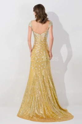 Glamorous Mermaid Sequins Crystals Evening Dress Sweep Train_3