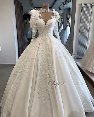 High-Neck Long-Sleeves Flowers Feather Appliques Brilliant Wedding Dresses_4