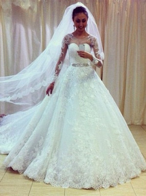 Gorgeous Lace Princess Wedding Dresses 2020 Appliques With Sleeve_1