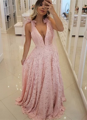 Gorgeous Pink V-Neck 2020 Prom Dress | Lace Evening Dress Long_1