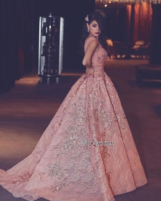 Flowers Luxury Lace Beading V-Neck Puffy Pink Evening Gowns_2