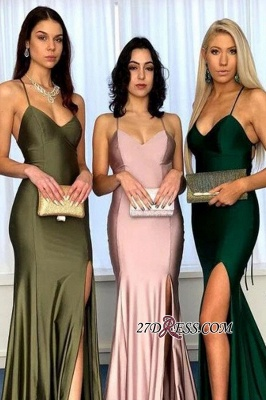 Sexy Spaghetti-strap Sheath Side-slit Bridesmaid Dresses_2