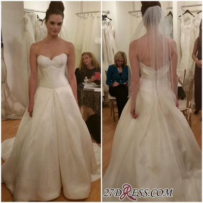 Sleeveless Princess Elegant Zipper Sweetheart Wedding Dress_1