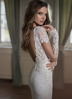 Modern Bateau Cap Sleeve Mermaid Wedding Dress Open Back With Lace Beadings_2