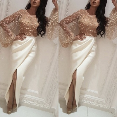 Luxurious Crew Long Sleeves Mermaid Evening Gown On Sale   2020 Beadings Front Split Prom Dress On Sale BC0143_2