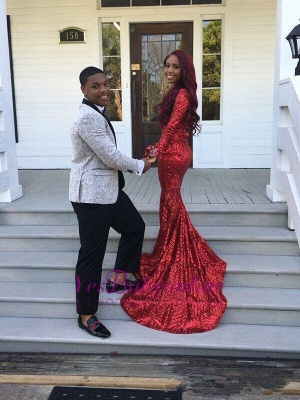 Sexy Red V-Neck Sequins Prom Dresses 2020 Long Sleeve Mermaid BK0_2