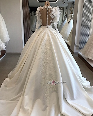 High-Neck Long-Sleeves Flowers Feather Appliques Brilliant Wedding Dresses_3