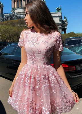 Elegant Short Sleeve Homecoming Dresses   Pink Lace Mini Party Gowns_1