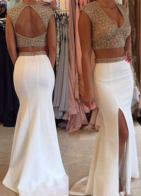 Glamorous Two Pieces Prom Dresses 2020 Beadings Cap Sleeve Long Party Gowns BA3117_3