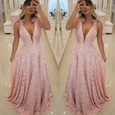 Gorgeous Pink V-Neck 2020 Prom Dress | Lace Evening Dress Long_4