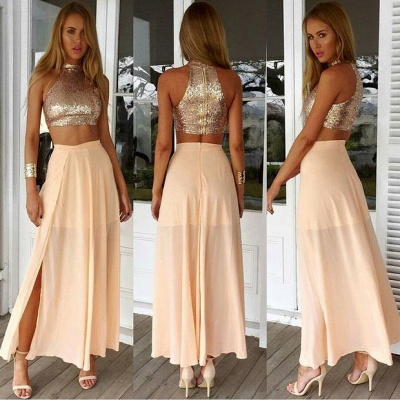 Newest Sequined Two Piece Prom Dress 2020 Front Split Floor-length BA3375_3
