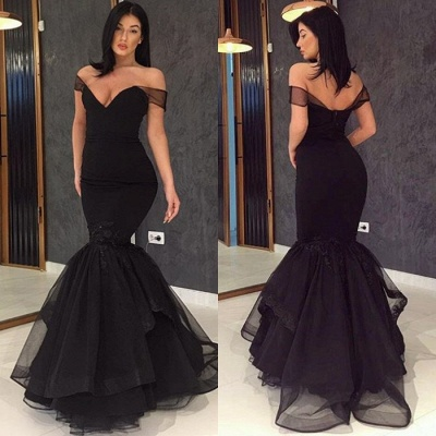 Glamorous Off-the-Shoulder Black Prom Dresses | 2020 Mermaid Tulle Evening Gowns_3