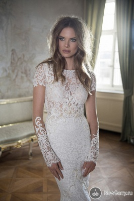 Modern Bateau Cap Sleeve Mermaid Wedding Dress Open Back With Lace Beadings_1