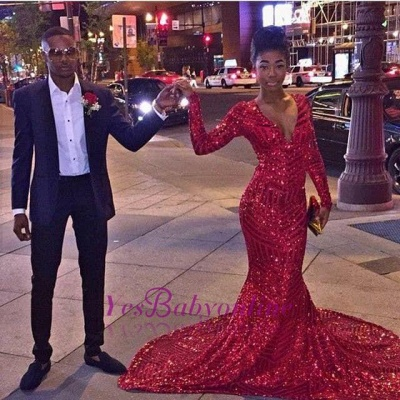Sexy Red V-Neck Sequins Prom Dresses 2020 Long Sleeve Mermaid BK0_3