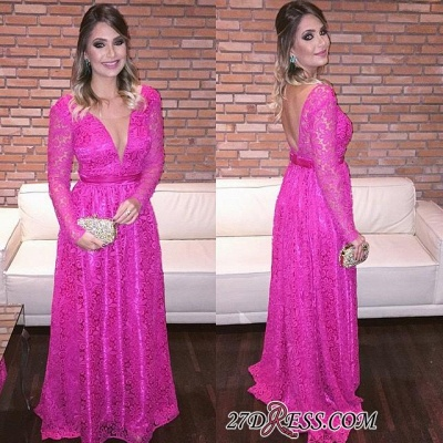 Lace Backless Natural Long-Sleeve Fuchsia V-Neck A-Line Evening Dresses_2