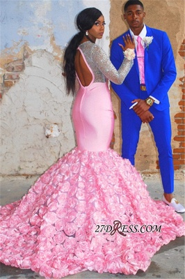Pink Long-Sleeves Backless Mermaid Prom Dress | Glamorous Flower Appliques Evening Gown_4