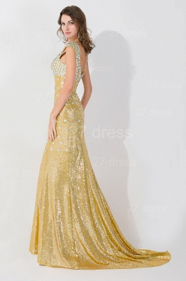 Glamorous Mermaid Sequins Crystals Evening Dress Sweep Train_2