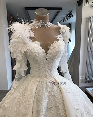 High-Neck Long-Sleeves Flowers Feather Appliques Brilliant Wedding Dresses_2