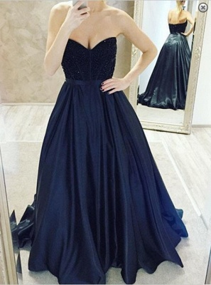 Elegant Sweetheart Beadings Prom Dresses 2020 A-Line Party Gowns_1