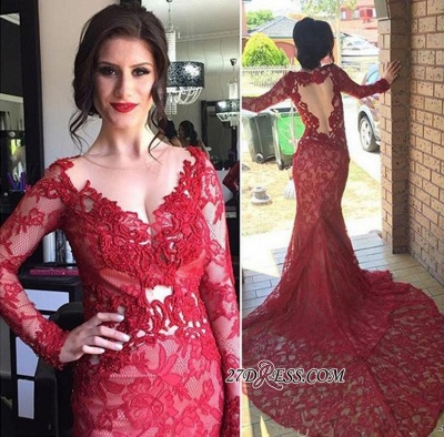 Court-Train Lace Long-Sleeve Mermaid Red Appliques Sheer-Tulle 2020 Evening Dress_2