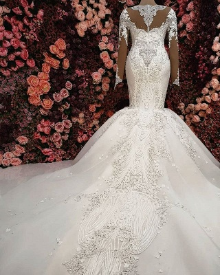 Gorgeous Crystals Lace Mermaid Wedding Dress   2020 Long Sleeve Bridal Gown BC0252_2