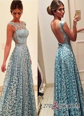 2020 Newest A-line Bow Lace Floor-length Backless Evening Dress_1